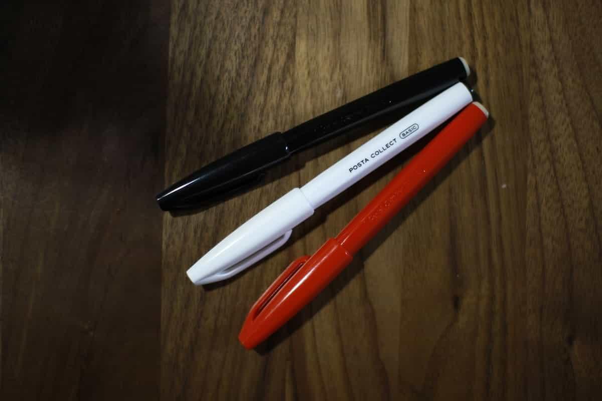 白いぺんてるサインペン「はがきサインペン黒」レビュー